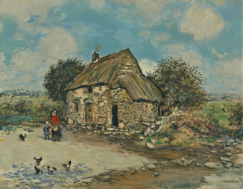 Jean-François Raffaëlli, S1878-R, La provende des poules. Maybe?: 18xx, Feeding the chickens, on panel, 43x56, A2008/04/18 (iR11;iR14;iR204) A photo was exhibited as se1884-64 (aR14,p12).