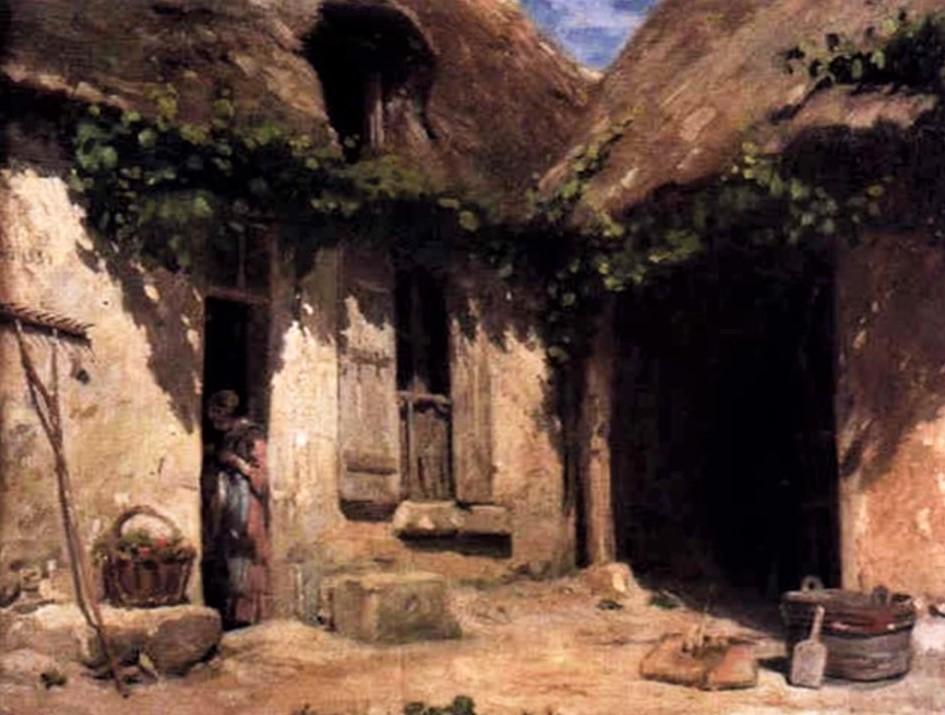 Adolphe-Félix Cals, 1859, Cour de ferme, 33x41, A2000/03/26 (iR13)