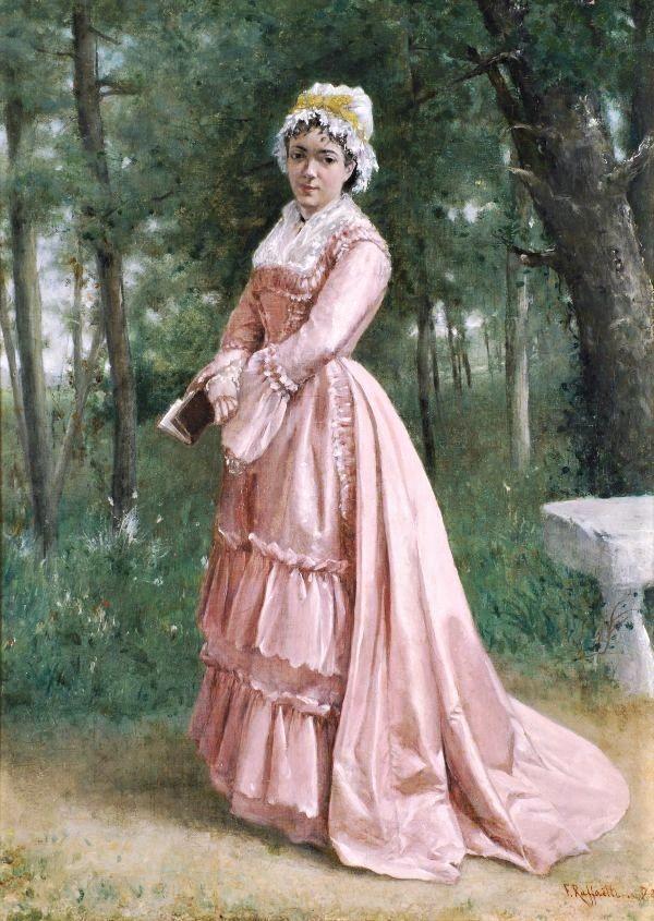 Jean-François Raffaëlli, 1872, Lecture au Foret de Fontainebleau (Elegant lady holding a book), 41x31, A2012/12/12 (iR11;iR13)