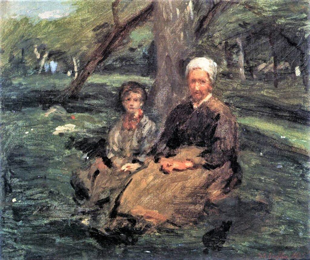 Adolphe-Félix Cals, 1875, Femme et enfant dans un verger (woman and child in the orchard, ?at Saint-Siméon), 32x38, Orsay (iR2;iR76;R3,p124;R88I,p97)