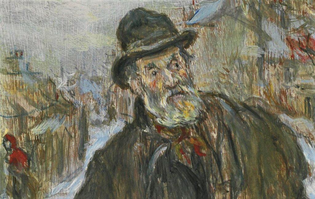 Jean-François Raffaëlli, 5IE-1880-157, Marchand d'habits sur la route d'Argenteuil (aquarelle et pastel). Maybe: 18xx, Le marchand des habits (Le Chiffonnier; detail), on panel, 24x10, A2012/04/23 (iR15;iR11;R138XVI,no24;R2,p313;R90II,p154). Compare Delteil 24, se1884-9 and SNBA-1893-860.