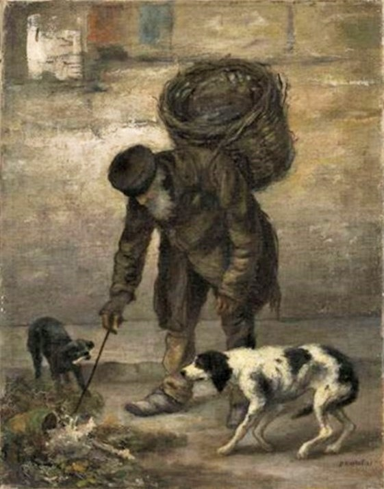 Jean-François Raffaëlli, 1878-80, Le chiffonier et le chien, 33x25, Axx (iR13;iR10)