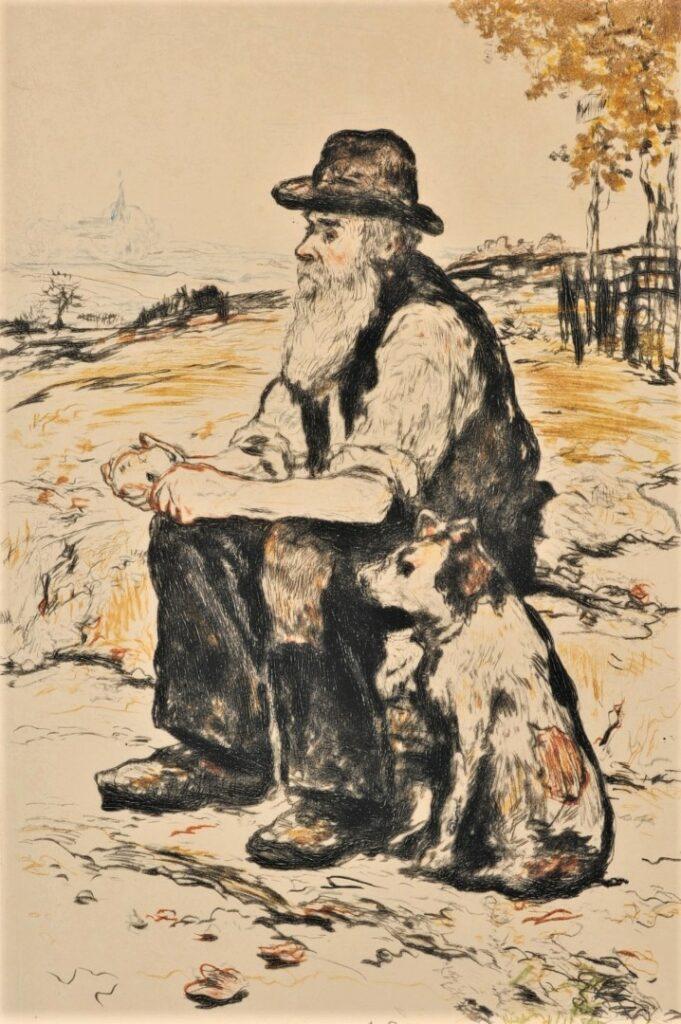 Jean-François Raffaëlli, 6IE-1881-100, Cassant une croûte. Compare: 1898, D37, Two friends, colour etch, 21x13, A2015/09/25 (iR10;iR13;R138XVI,no37;R90II,p196;R2,p355) = EU1900
