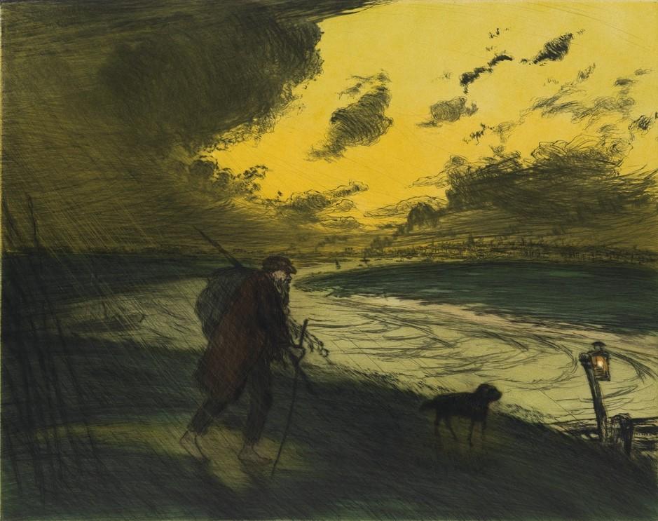 Jean-François Raffaëlli, 6IE-1881-103, Dans l'Orage, pastel. Compare: 1906, D73-2, L'orage, colour etch ps, 44x56, A2017/09/19 (iR11;iR40;R138XVI,no.73;R2,p355;R90II,p185). Compare: SNBA-1907-1905.