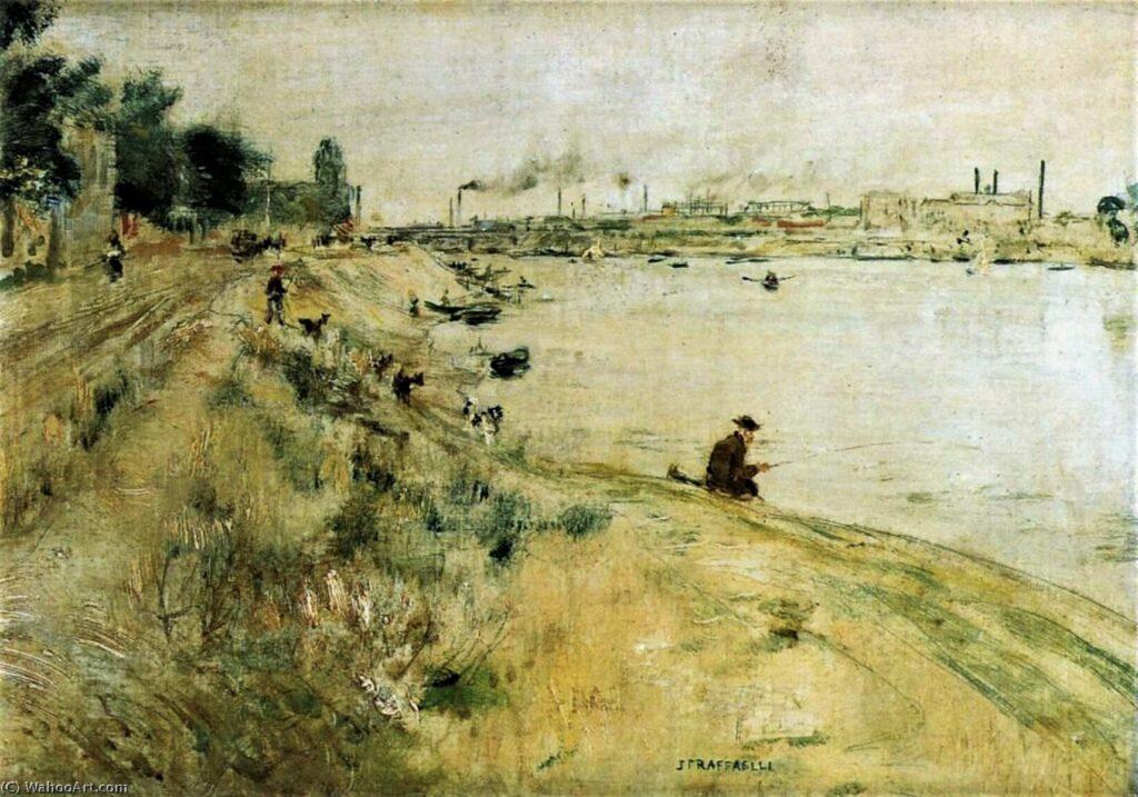 Jean-François Raffaëlli, 6IE-1881-105, Le quai de Clichy, les ponts. Maybe??: 18xx, Fisherman on the banks of the Seine, 26x36, private (iR10;iR223;R3,p246;aR7;R2,p355). Compare: se1884-137 (aR14,p16).