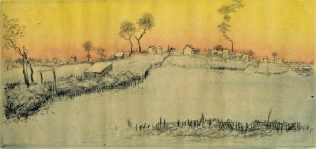 Jean-François Raffaëlli, 6IE-1881-108, Dans la neige. Compare: 1907, D77-4, Snow, setting sun, colour etch, 47x22, A2010/02/11 (iR13;R138XVI,no77;aR7,p143;R2,p355;R90II,p185). Compare SNBA-1907-1756.
