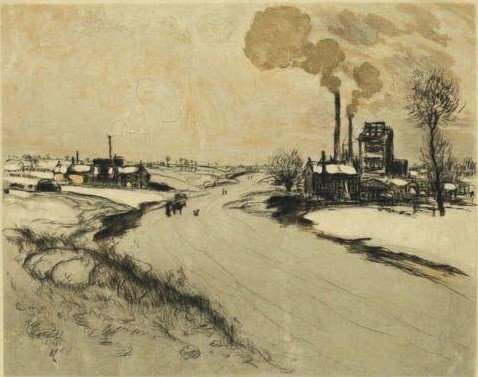 Jean-François Raffaëlli, 6IE-1881-108, Dans la neige. Compare: 1909, D89, Les usines sous la neige (Rivière, au parc), colour etch ps, 16x20, A2010/10/27 (iR11;iR40;R138XVI,no.89;R2,p355;R90II,p185)
