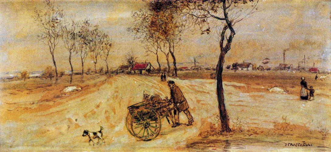 Jean-François Raffaëlli, 6IE-1881-109, Affûteur de scies. Now: 1907 (or: 1881ca), the knife sharpener (a landscape in the suburbs of Paris), on board, 54x84, MdGrenoble (iR204;iR22;R90II,p196;R2,p355;cpR138XVI,no76)