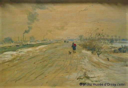 Jean-François Raffaëlli, 6IE-1881-112, La neige, au bord de l'eau, aquarelle. Compare: 18xx, L'hiver en banlieue (La neige sur le quai), 24x33, MAH Cholet (Orsay) (iR22;iR127;aR7,p220;R2,p355;R90II,p186)