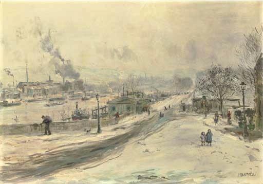 Jean-François Raffaëlli, 6IE-1881-112, La neige, au bord de l'eau, aquarelle. Compare: 1xxx, au bord de la Seine, environs de Paris, 65x92, A2005/11/17 (iR11;iR15;R2,p355;R90II,p186)