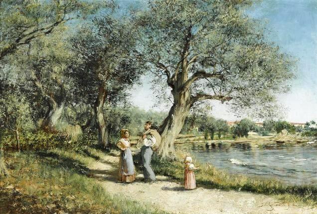 Jean-François Raffaëlli, 6IE-1881-119, Route d'Argenteuil, aquarelle. Compare: 1874, Promenade au bord de l'eau, 26x40, A2014/05/07 (iR11;iR13;R2,p355;R90II,p186). Compare: se1884-142 (aR14,p17).