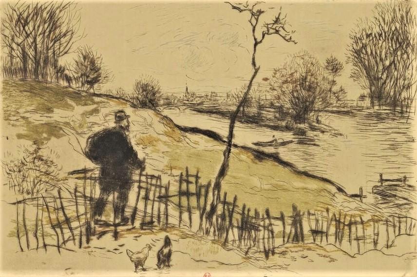 Jean-François Raffaëlli, 6IE-1881-119, Route d'Argenteuil, aquarelle. Compare: 1898, D40-3, à Gennevilliers, colour etch, 16x23, BNF Paris (iR40;R138XVI,no40;R2,p355;R90II,p186). Compare: se1884-142 (aR14,p17) + SNBA1899-2248.