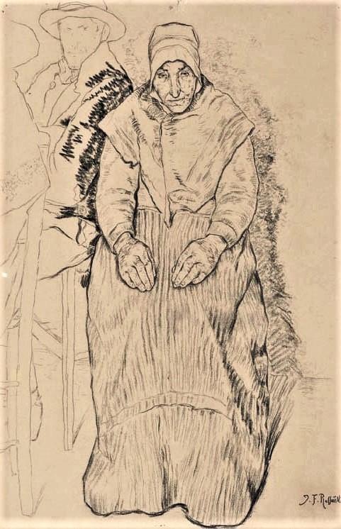 Jean-François Raffaëlli, 6IE-1881-120, Dessin à la plume. Maybe???: 1876ca, An old woman, seated, in Breton dress (study for S1877-1755), dr, 19x12 (or48x31), A2006/01/24 (iR15;iR11;aR7,p54;R2,p355)