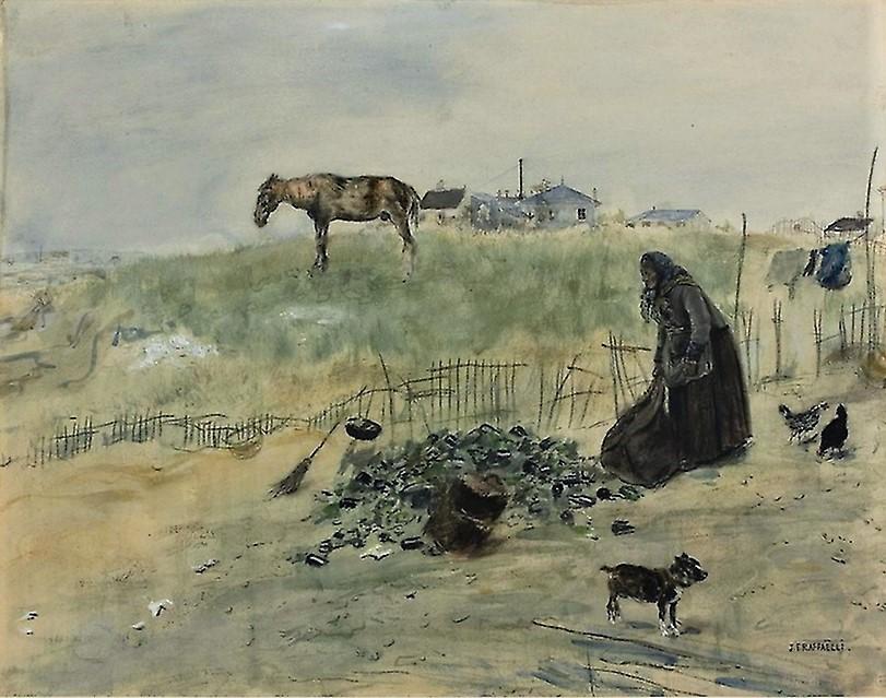 Jean-François Raffaëlli, 6IE-1881-121, Le tas de verres cassés, aquarelle. Probably: 1882ca, Le terrain vague, wc mix, 31x40, AI Chicago (iR74;aR7,p135;R2,p355;R90II,p186) Former collection of N.R... Compare: se1884-141 (aR14,p17).