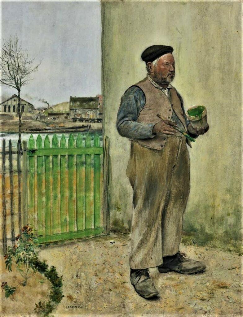 Jean-François Raffaëlli, 6IE-1881-122, Bonhomme venant de peindre sa barrière =1881ca, Fellow having just painted his fence, oil dr, 65x50, A2014/05/09 (iR11;iR14;iR2;R90II,p197;R2,p338;R1,p434) =se1884-55.