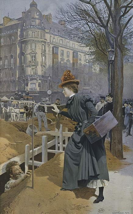 Jean-François Raffaëlli, 6IE-1881-124, Un commissionnaire de Paris. Compare: Basile Lemeunier, 1898, La commissionnaire de Paris (The errand girl of Paris), xx (iR155;iR10;R2,p356;R90II,p186)