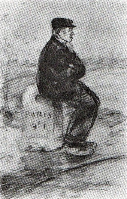 Jean-François Raffaëlli, 6IE-1881-92, Cantonnier, Paris 4 k. I = 18xx, roadmender, wc pastel, 48x31, NLm Hannover (R90II,p196) =se1884-10. Compare Delteil 57.