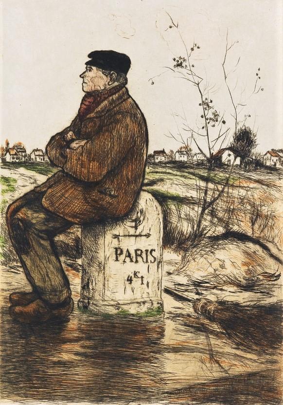 Jean-François Raffaëlli, 6IE-1881-92, Cantonnier, Paris 4 k. 1. Compare: 1904, D57, Le cantonnier sur la Borne, colour etch, 28x20, A2015/09/24 (iR11;R138XVI,no57;R90II,p196;aR7)