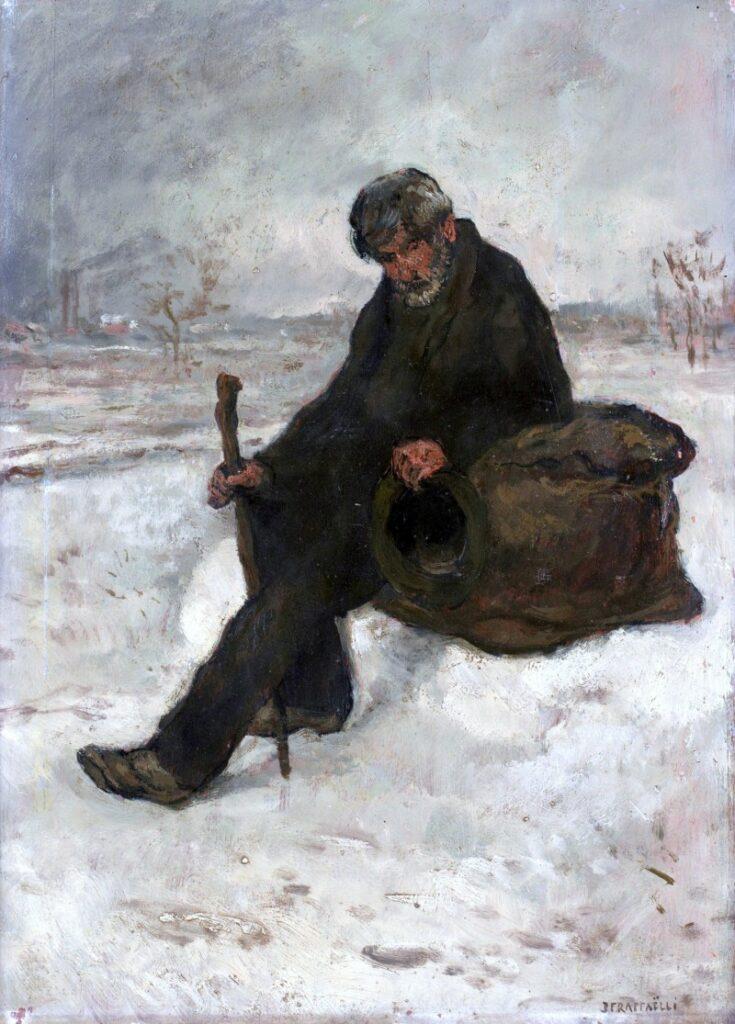 Jean-François Raffaëlli, 6IE-1881-93, Homme regardant dans une tranchée. Maybe?: 1880ca, Le cheminot dans la neige (the begger), 53x38, A2015/12/16 (iR14;iR11;iR204;iR10;R2,p355) Compare 5IE-1880-154.