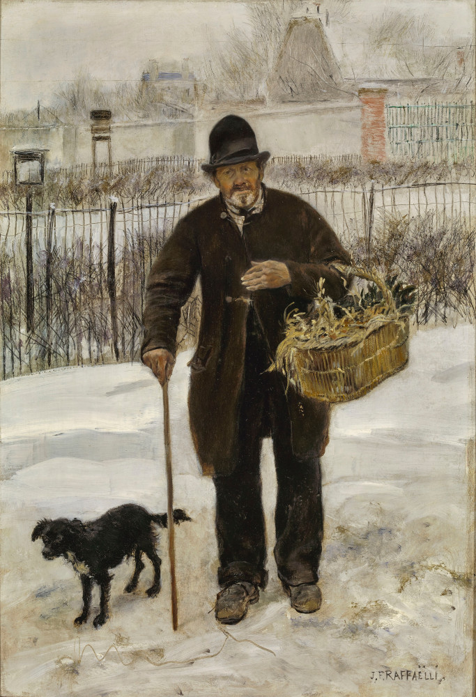 Jean-François Raffaëlli, 6IE-1881-96, Marchand d'ails et d'échalotes. Maybe: 1881ca, A stroller and his dog, on panel, 54x37, A2016/12/04 (iR10;iR13;R2,p355;R90II,p185) Compare 5IE-1880-147.