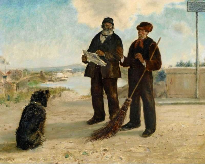 Jean-François Raffaëlli, 6IE-1881-97, Sur la place des écoles, à Asnières. Maybe?: 1879ca, Asnier Newspaper, 32x41, A2010/11/04 (iR2;iR11;R2,p355)
