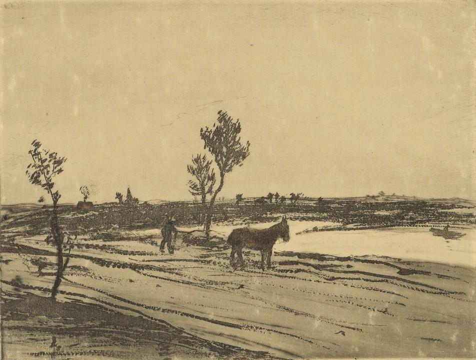 Jean-François Raffaëlli, 6IE-1881-98, Cheval. Compare: 1907, D81-3, Le cheval dans la plaine, colour etch ps, 10x14, BNF Paris (iR40;R138XVI,no81;R2,p355;R90II,p185)