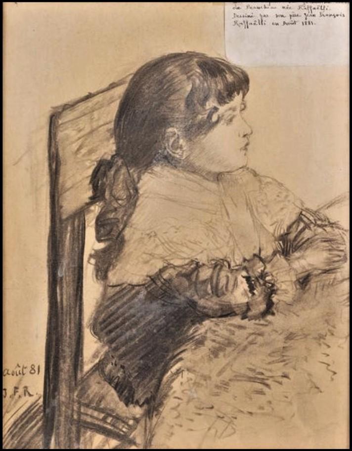 Jean-François Raffaëlli, 6IE-1881-99, Portrait de ma Petite-fille. Compare: 1881/08, Portrait of Germaine, dr, xx, 2020/12/18 (iR86;R2,p355)
