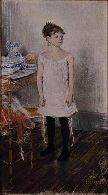 Jean-François Raffaëlli, 6IE-1881-99, Portrait de ma Petite-fille. Compare: 1886, Germaine (8 years) at her Toilette, pastel, 108x60, AI Chicago (iR22;iR10;iR74;R2,p355)