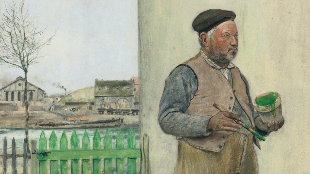 Jean-François Raffaëlli, 6IE-1881-122, Bonhomme venant de peindre sa barrière =1881ca, Fellow having just painted his fence (detail), oil dr, 65x50, A2014/05/09 (iR14;iR11;iR2;R90II,p197;R2,p338;R1,p434) =se1884-55.