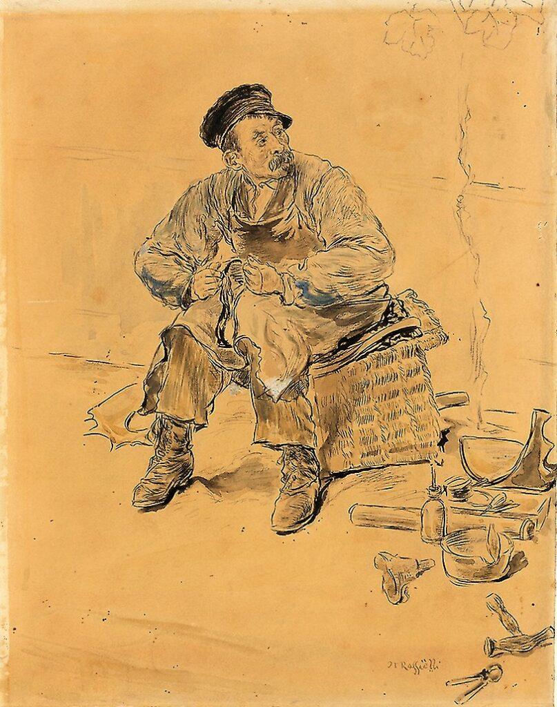 Jean-François Raffaëlli, 1889ca, A Cobbler (Les types de Paris), mixed, 19x20, AI Chicago (iR74;iR82;iR10)