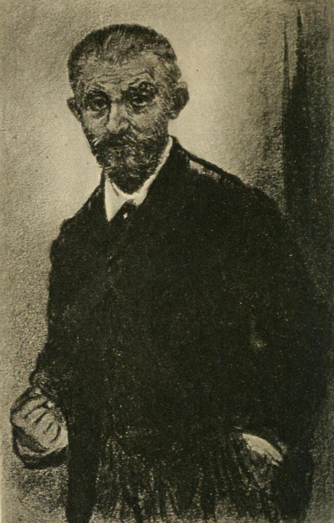 Jean-François Raffaëlli, 1893, Portrait of Joris-Karl Huysmans (in L'Artiste, 1893-10), charcoal + ink, 13x9, A2012/02/14 (iR10;iR6;iR13)