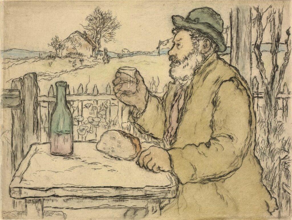Jean-François Raffaëlli, 1894, D11, A Votre Santé (vieux buveur, Types de Petite Gens), colour etch, 20x26, Cleveland MA (iR6;R138XVI,no11)