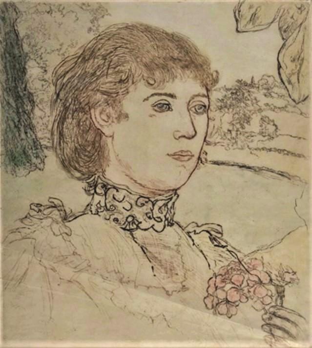 Jean-François Raffaëlli, 1896, D27-2, La jeune fille au géranium, colour print, 44x39, A2014/12/07 (iR13;R138XVI,no27) Compare photo 1887.