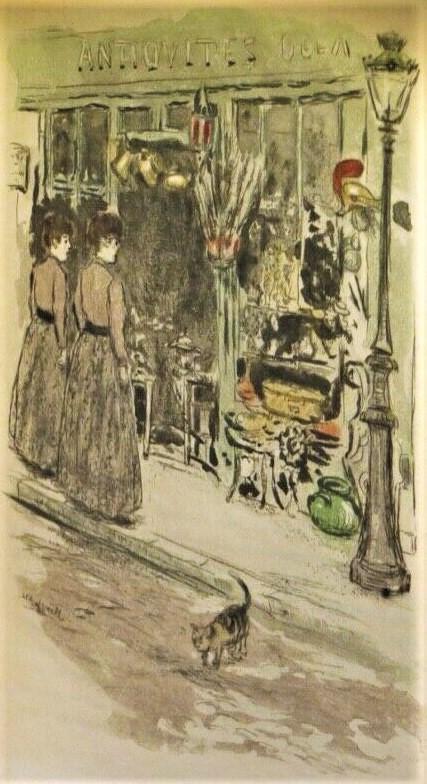 Jean-François Raffaëlli, 1909, D178-3, Elle l'entraine devant un marchand de bric-a-brac, (Illustration for Huysmans Les Soeurs Vatard), colour etch, 20x14, Axx (iR42;R138XVI,no178)