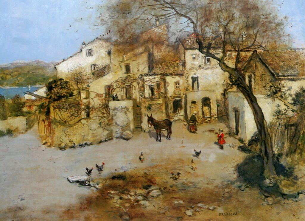 Jean-François Raffaëlli, 1913, a mediterranean courtyard, xx, xx (iR204;iR13). Compare: Delteil 100, La place de village à Cagnes (R138XVI,no100).