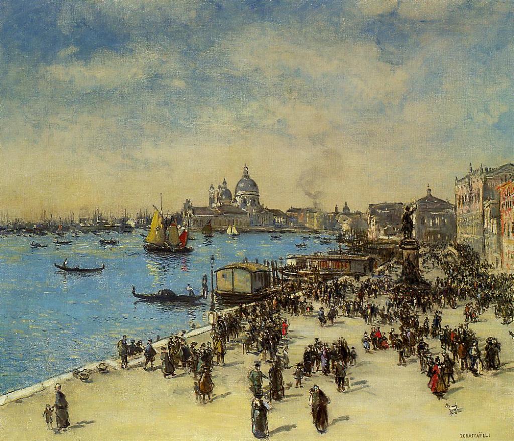 Jean-François Raffaëlli, 1914 (?), Riva Degli Schiavoni, Venice, 87x101, A2002/04/23 (iR2;iR15;iR11). Compare similar painting in BBM Rotterdam.