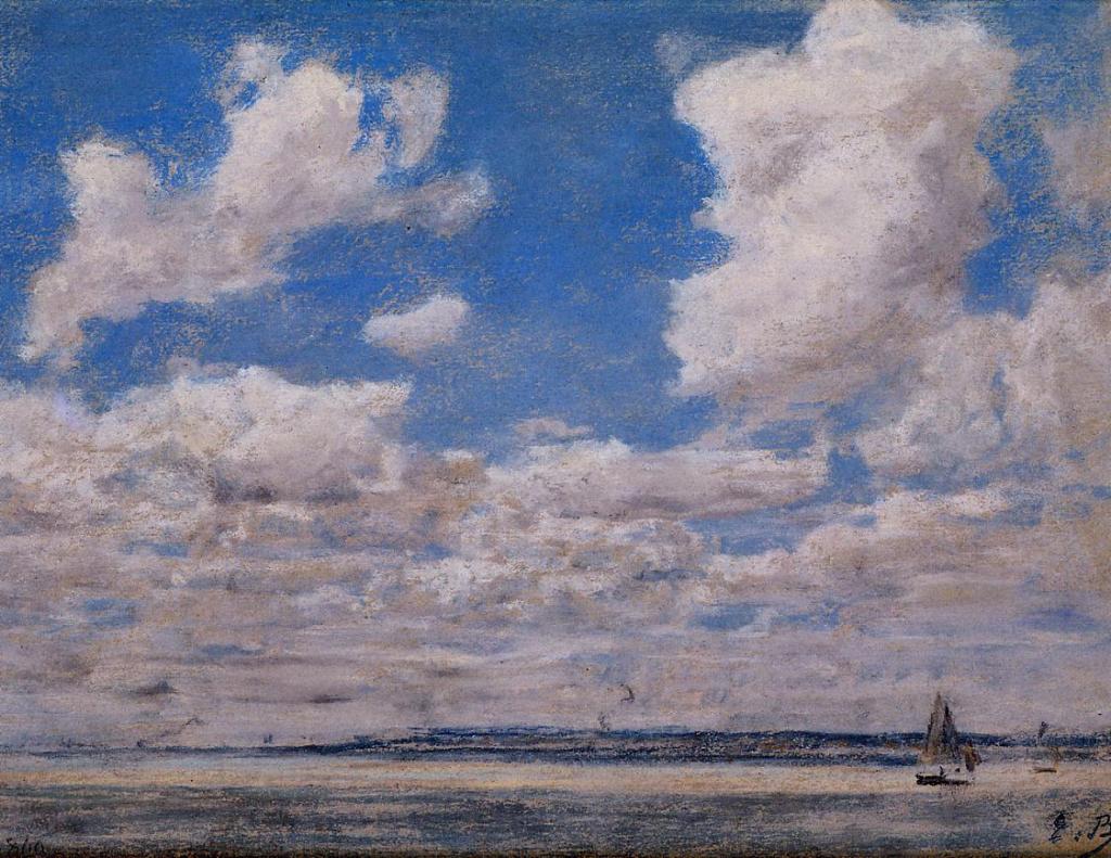 Eugène Boudin, 1IE-1874-20-1, études de ciel (pastels). Maybe?: 1860, Seascape with Large Sky, pastel, xx, private (iR2;R2,p119)