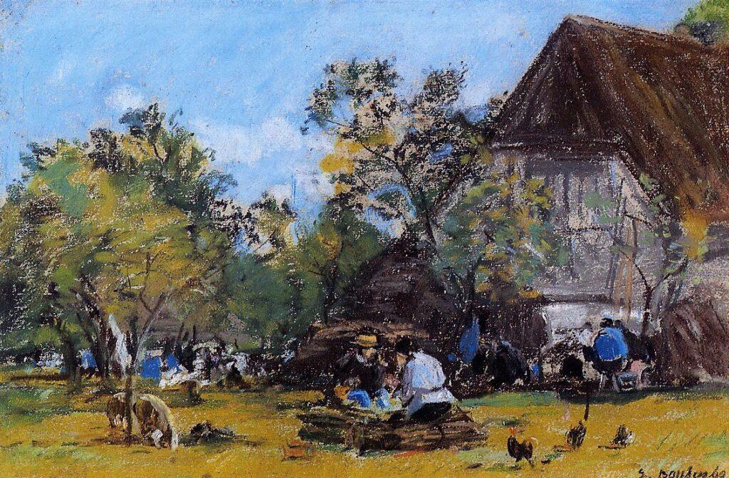 Eugène Boudin, 1IE-1874-21-2, études diverses. Maybe??: 1860, The Saint-Siméon Farm, pastel, 20x30, private (iR2;R2,p119;R87,p230;R161,p14)