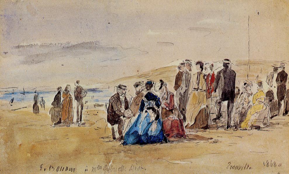 Eugène Boudin, 1IE-1874-22-1, Plage de Trouville (Aquarelles). Maybe?: 1868, Trouville, wc, 17x27, private (iR2;R2,p119;R87,p230)