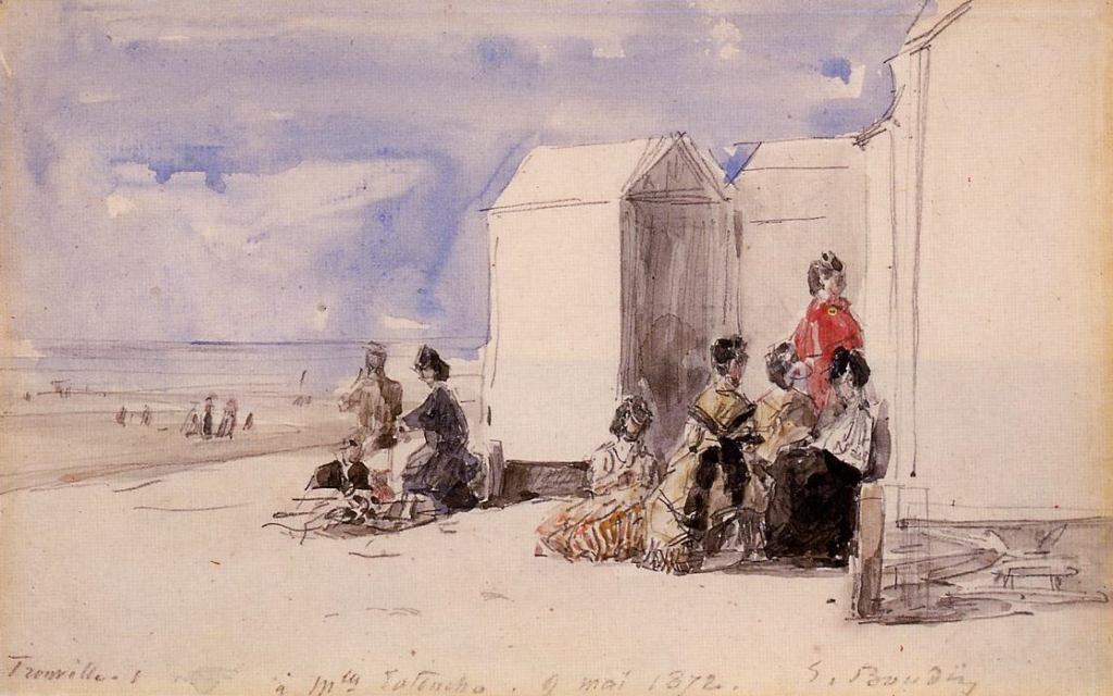 Eugène Boudin, 1IE-1874-22-3, Plage de Trouville (Aquarelles). Maybe: 1872-73, Crinolines on the Beach, wc, xx, private (iR2;R2,p119)
