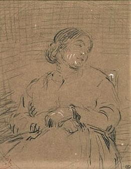 Adolphe-Félix Cals, 2IE-1876-33, Portrait de Mme X… (dessin). Very uncertain: 18xx, Femme vue à mi-corps, de face, assise, les mains croisées sous la poitrine, dr, 19x15, Louvre (iR23;R244;R2,p161) =(?) Rouart1912, Femme assisse, 19x15 (or45) (R45,p114)