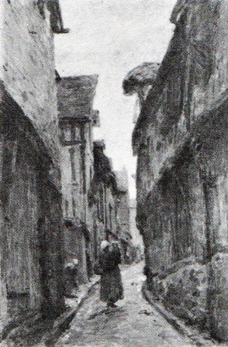 Adolphe-Félix Cals, 3IE-1877-10, La Rue Varin à Honfleur. Probably: 1877, A street scene in Honfleur, 64x43, A1978/10/18 (R90II,p86+70;R2,p203;iR14)