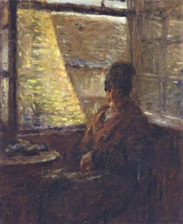 Adolphe-Félix Cals, 3IE-1877-13, La mère Doudoux. Compare: 1876, Old woman from Honfleur (la mère Boudoux) sitting in a parlour by the window, 35x30, A2001/09/26 (iR13;R2,p21;R90II,p70+86)
