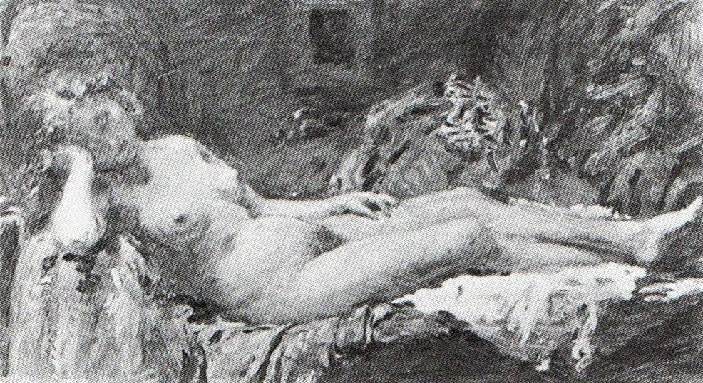 Adolphe-Félix Cals, 3IE-1877-14, Femme couchée, étude = 1876, Nu couché, 34x60, xx (R90II,p86+70;R2,p204)