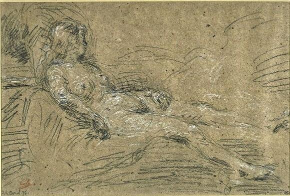 Adolphe-Félix Cals, 3IE-1877-14, Femme couchée, étude. Compare: 1876/04/24, Femme nue, couchée sur un lit, dr, 23x34, Louvre (iR23;R2,p204;R90II,p70) = 1876/04/24, Femme se reposant, dr, 23x34, Rouart auction 1912 (R45,p114)