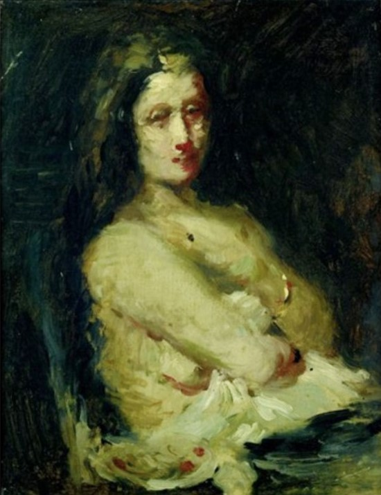 Adolphe-Félix Cals, 3IE-1877-16, Jeune femme, le matin. Maybe?: 18xx, Buste de jeune femme, bras pliés sur la poitrine, 34x28, A2010/03/18 (iR13;R2,p204;R90II,p70)