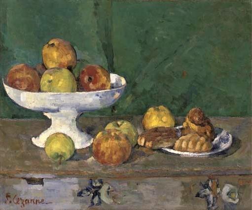 Paul Cézanne, 3IE-1877-17, Nature morte. Option: 1873-77ca, CR196+FWN744, pommes et gâteaux, 46x55, A2005/11/01 (iR11;iR189,no744;R189,no196;R90II,p186+70;R2,p203;R48,no195)