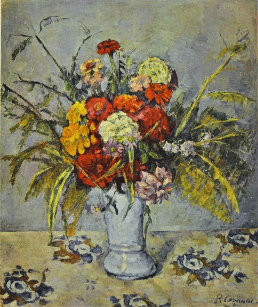 Paul Cézanne, 3IE-1877-21, Étude de fleurs. Option: 1874 (or1873-77), CR181, Vase of flowers (on a flower rug), 61x50, private (iR10;iR247;R189,no181;R48,no217;R90II,p87;R2,p203)