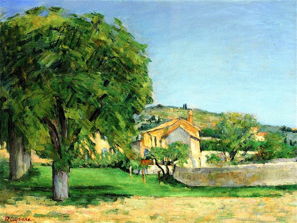 Paul Cézanne, 3IE-1877-25, Paysage, étude d'après nature. Maybe: 1876ca, CR464+FWN90, Chestnut Trees and Farmstead of Jas de Bouffan, 51x65, private (iR2;iR194,no90;R189,no464;R90II,p88;R2,p203;R48,no361)