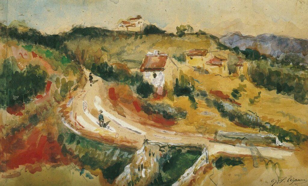 Paul Cézanne, 3IE-1877-31, Aquarelle, impression d'après nature. Probably: 1867, FWN1014, La Route Montante, wc, 21x35, EBM Tokyo (iR194,no1014;R90II,p71+89;R2,p204)